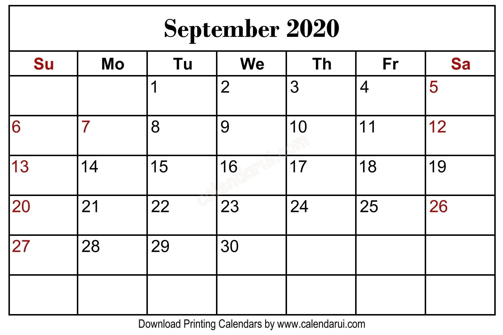 September 2020 Blank Calendar Printable Free Download Template_Blank Calendar September 2020 Vertical