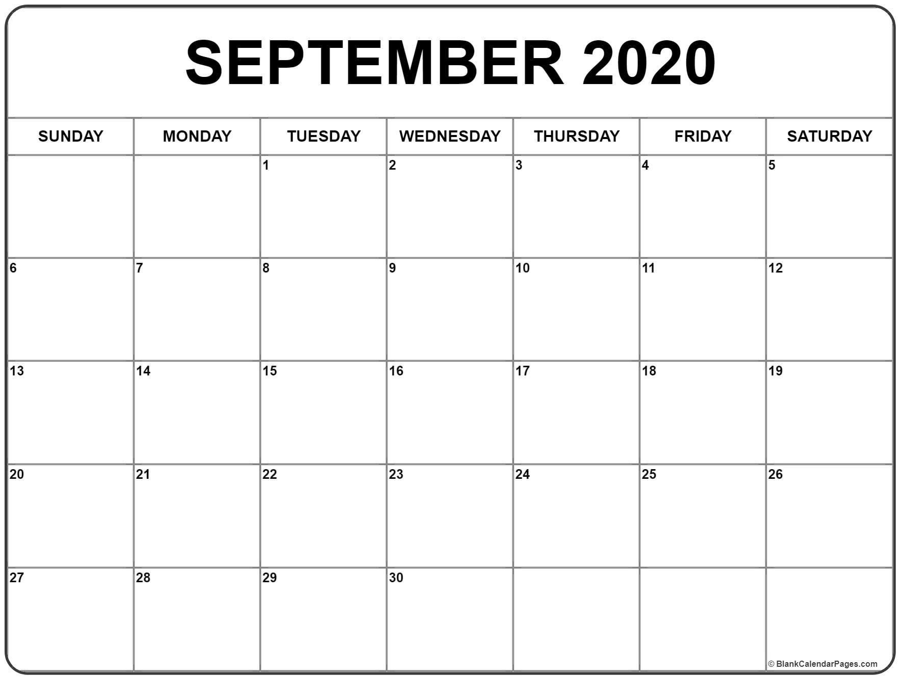 September 2020 Calendar | Free Printable Monthly Calendars_Blank Calendar Template September 2020