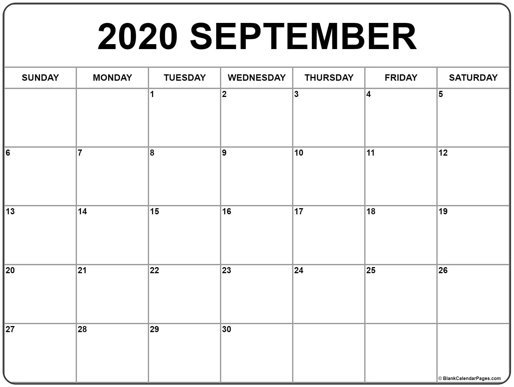 September 2020 Calendar | Free Printable Monthly Calendars_Calendar Blank 2020 September
