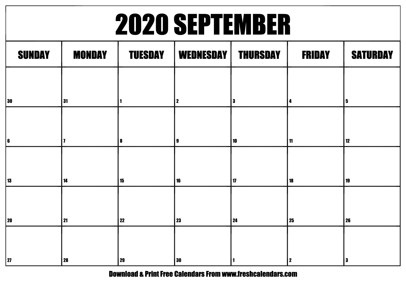 September 2020 Calendar Printable - Fresh Calendars_A Blank Calendar For September 2020