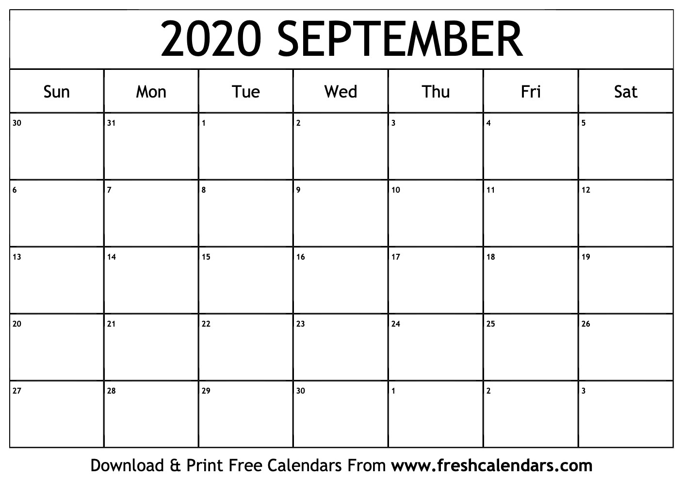 September 2020 Calendar Printable - Fresh Calendars_Blank Calendar September 2020 Pdf