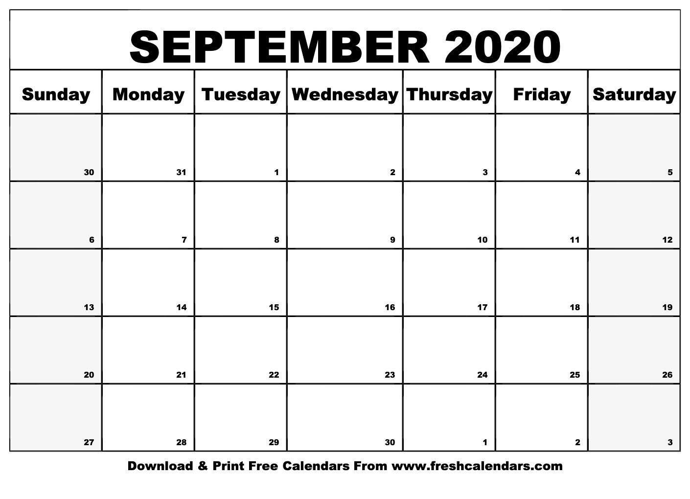 September 2020 Calendar Printable - Fresh Calendars_Calendar Blank Template September 2020