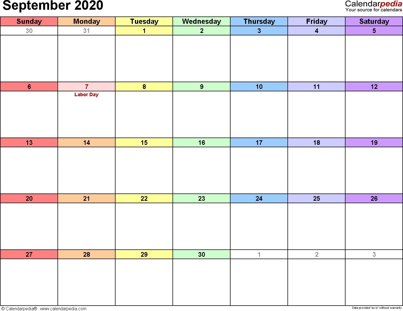 September 2020 Calendars For Word, Excel & Pdf_Blank Calendar September 2020 Vertical