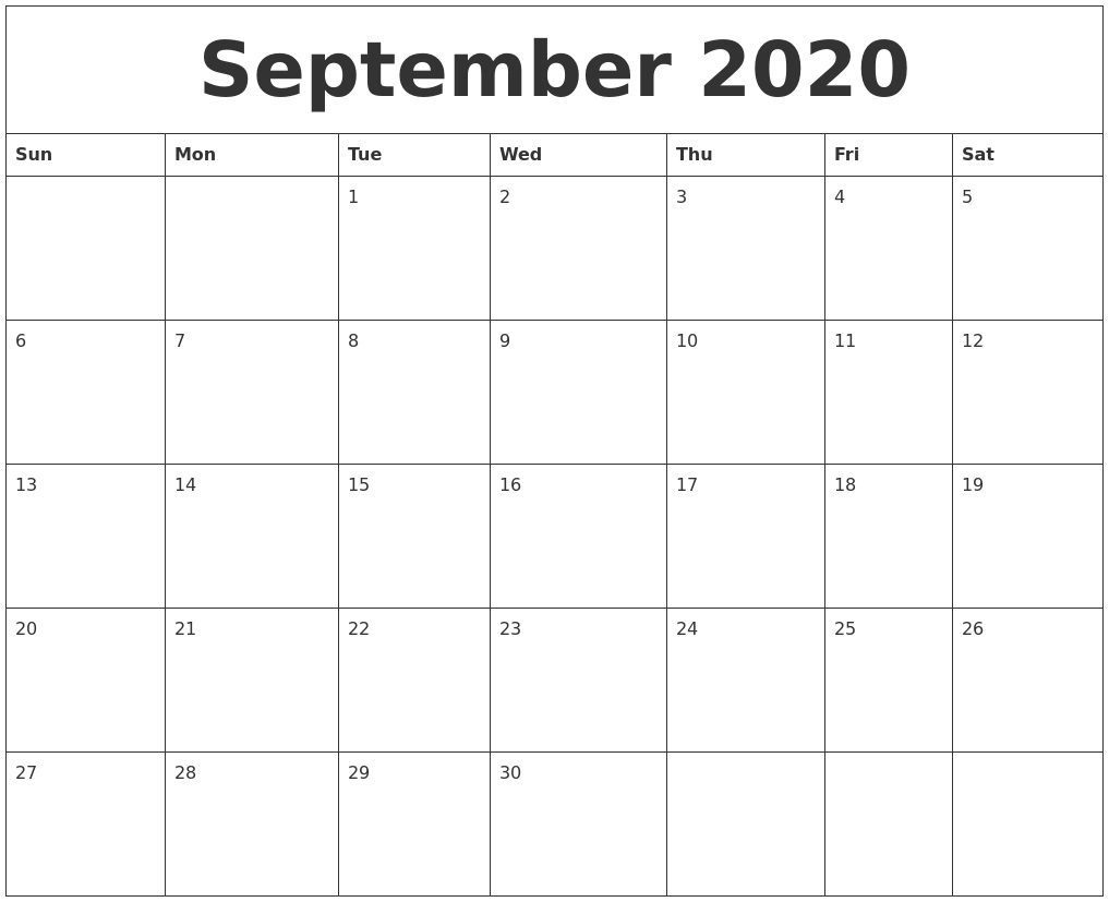 September 2020 Monthly Printable Calendar_Blank Calendar Template By Month 2020