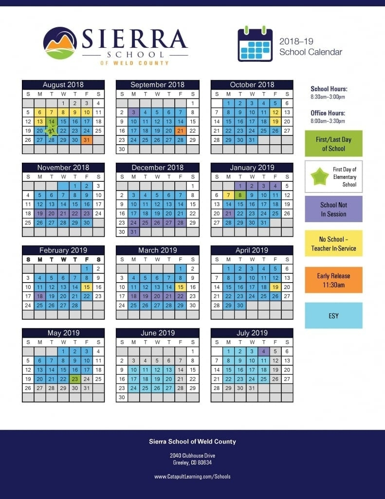 Sierra School Of Weld County - Catapult Learning_Boces 2 School Calendar