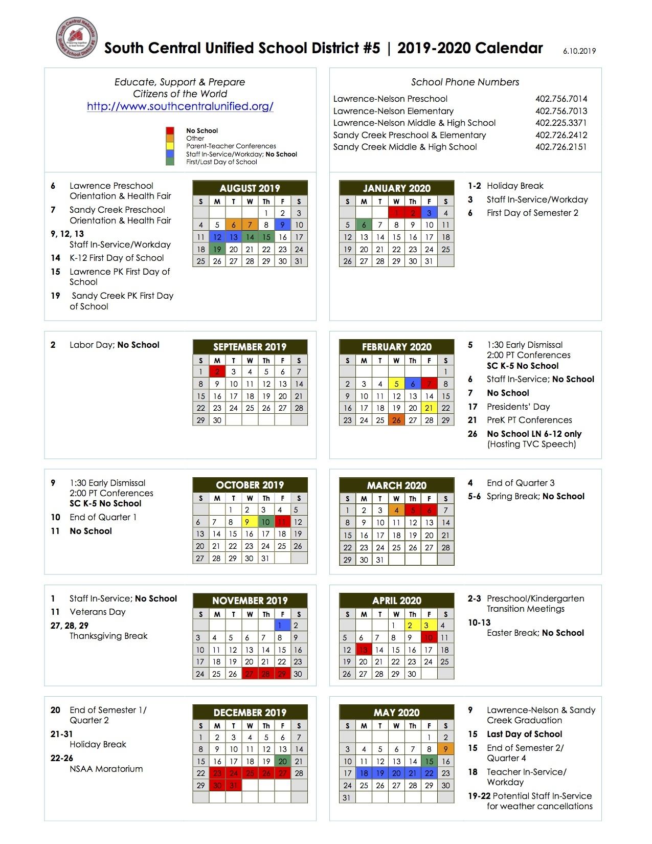 South Central Usd 5_School Calendar Clay County