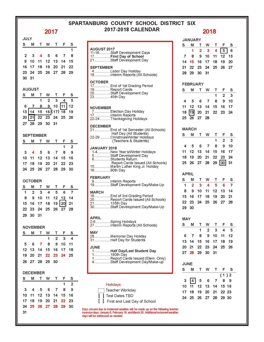 "Spartanburg Dist Six On Twitter: ""the 2017-2018 District Six_Spartanburg 6 School Calendar"