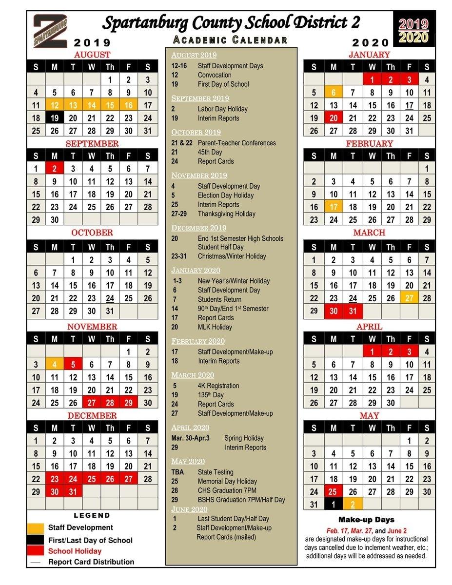 "Spartanburg Dist Two On Twitter: ""spartanburg Two Families, Please_District 2 School Calendar Spartanburg Sc"