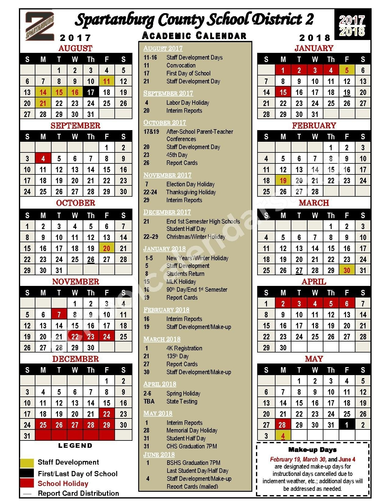 Spartanburg District 7 Calendar 2017-2018 Download For Absolutely_Spartanburg 6 School Calendar