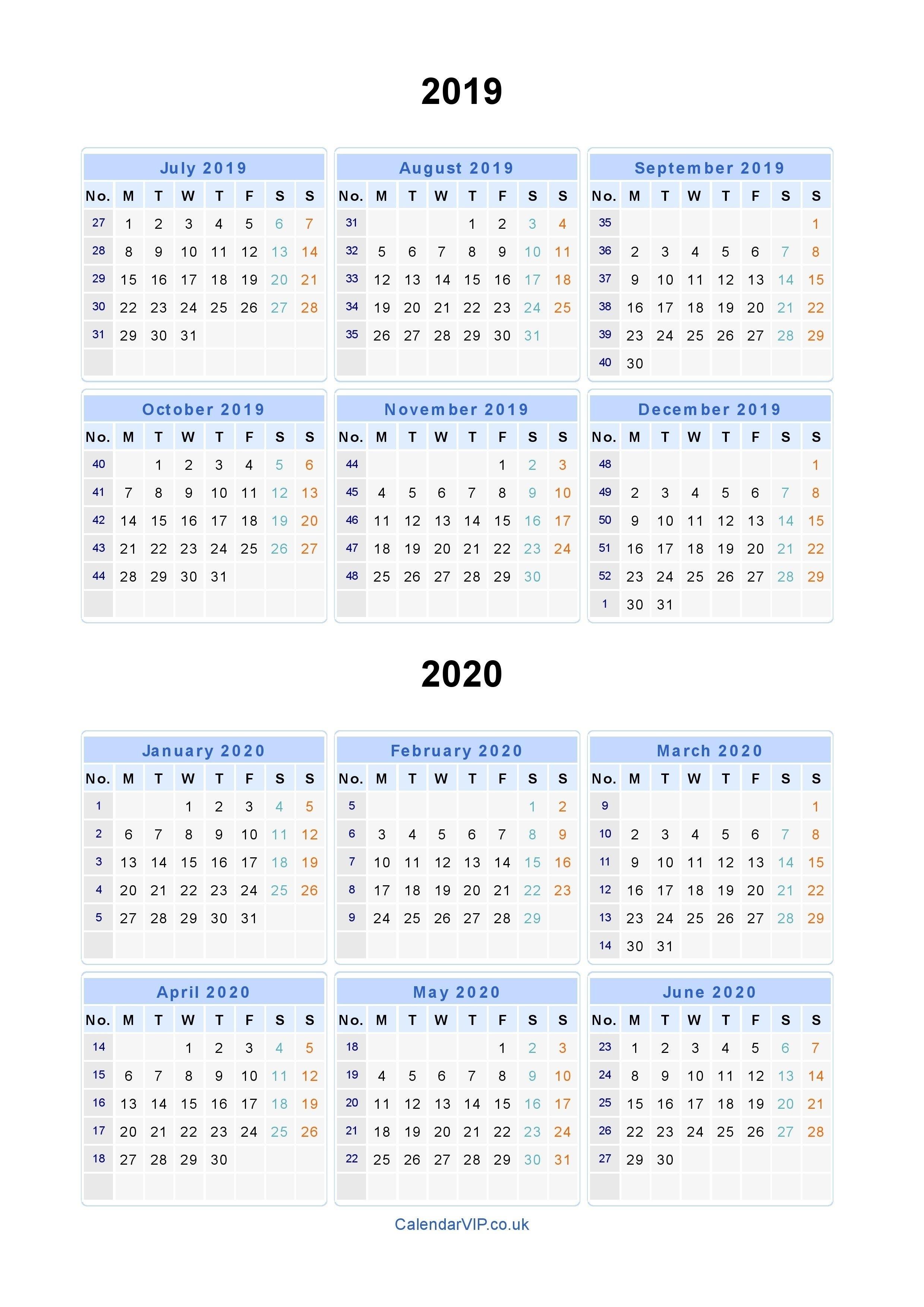 Split Year Calendars 2019 2020 - Calendar From July 2019 To June_Nz Secondary School Calendar 2020