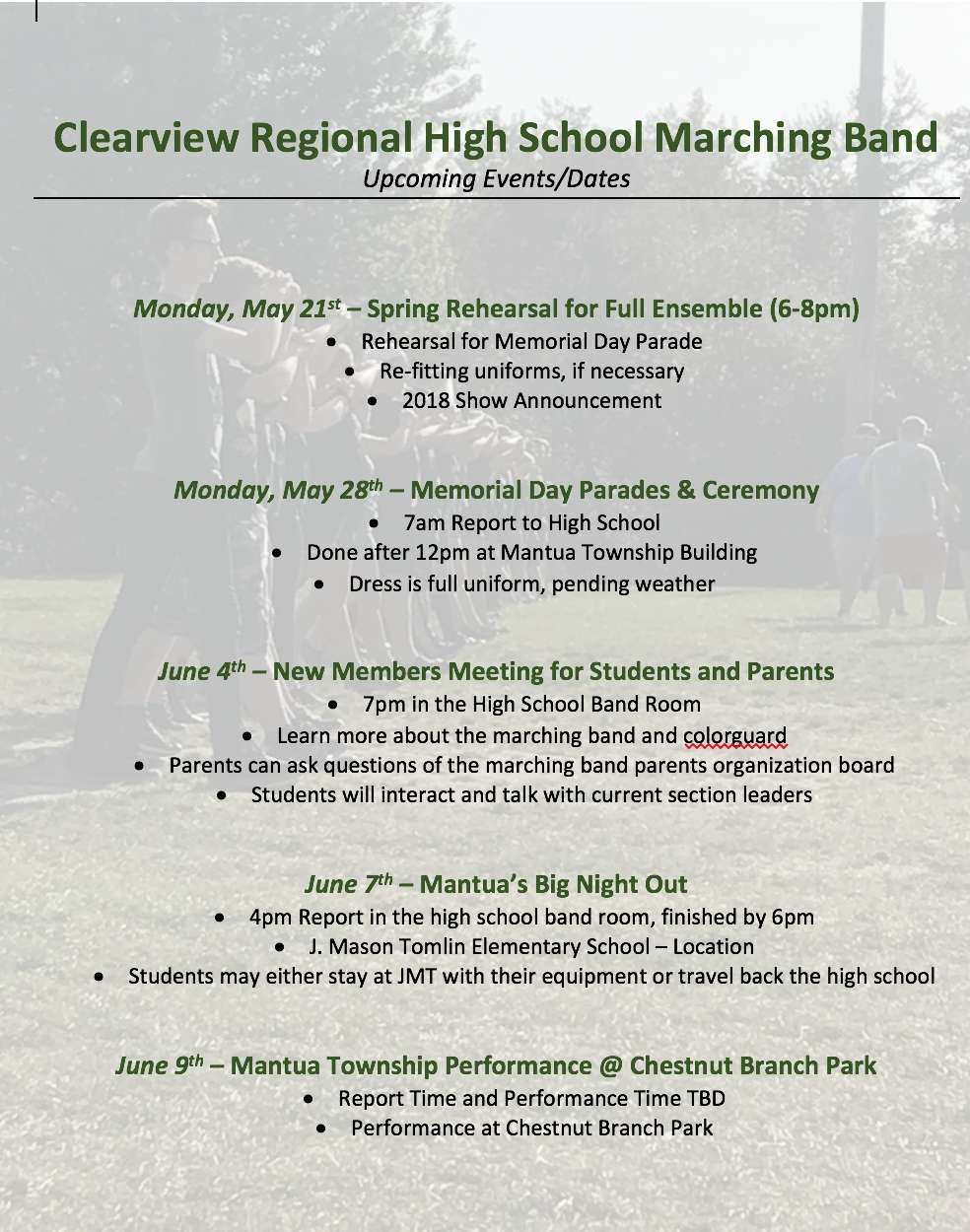 Spring Marching Band Schedule  </p>   </div>        <br>     <div class=