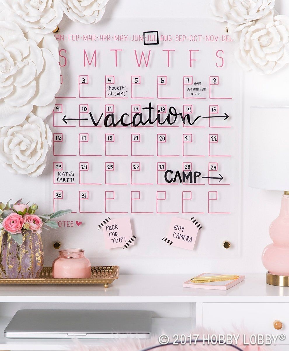 Staying Stylishly Organized Is Easy With This Acrylic Wall Calendar_Blank Calendar Hobby Lobby