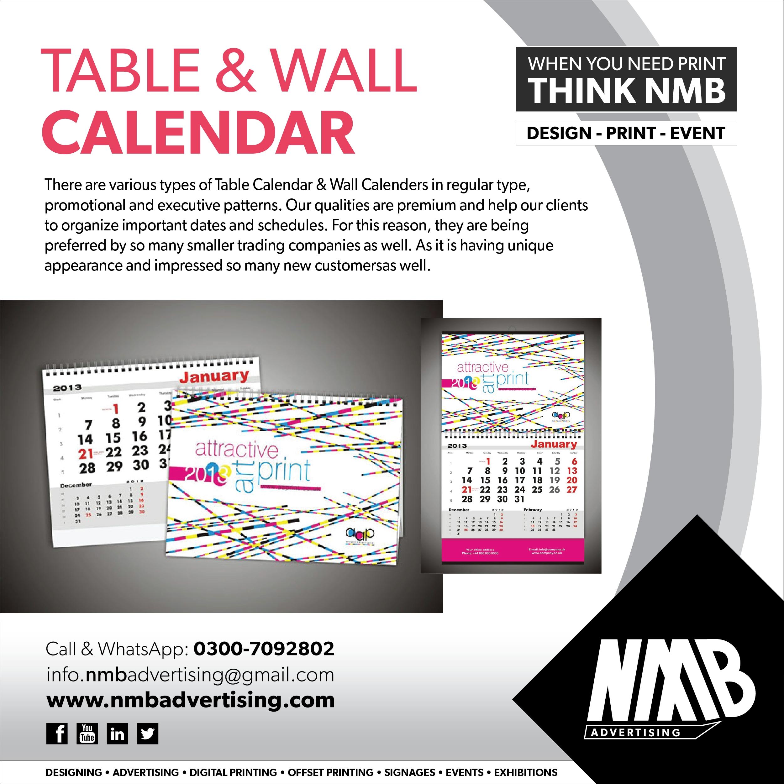 Table &amp; Wall Calendar  </p>   </div>        <br>     <div class=