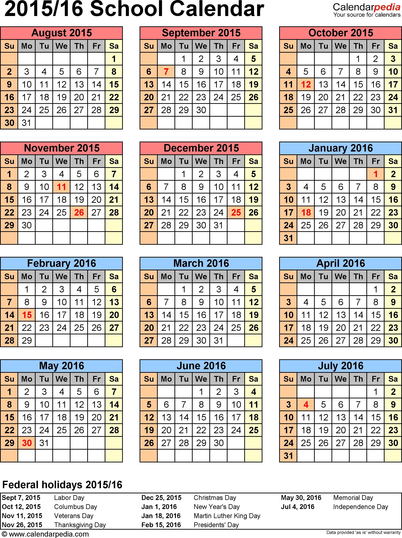 Template 6: School Calendar 2015/16 For Word, Portrait Orientation_School Calendar Orange County