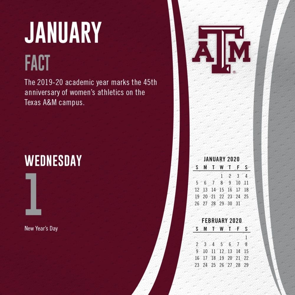 Texas A&m Aggies 2020 Desk Calendar_A&m School Calendar 2020