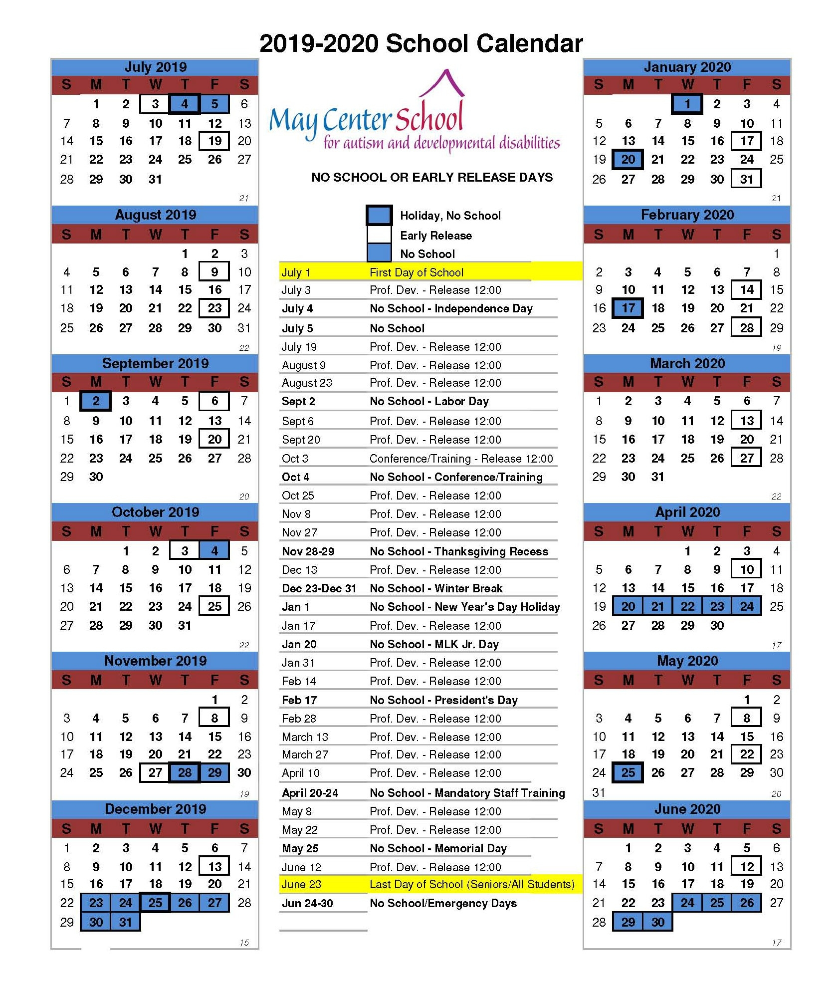 The May Institute_School Calendar Quincy Ma