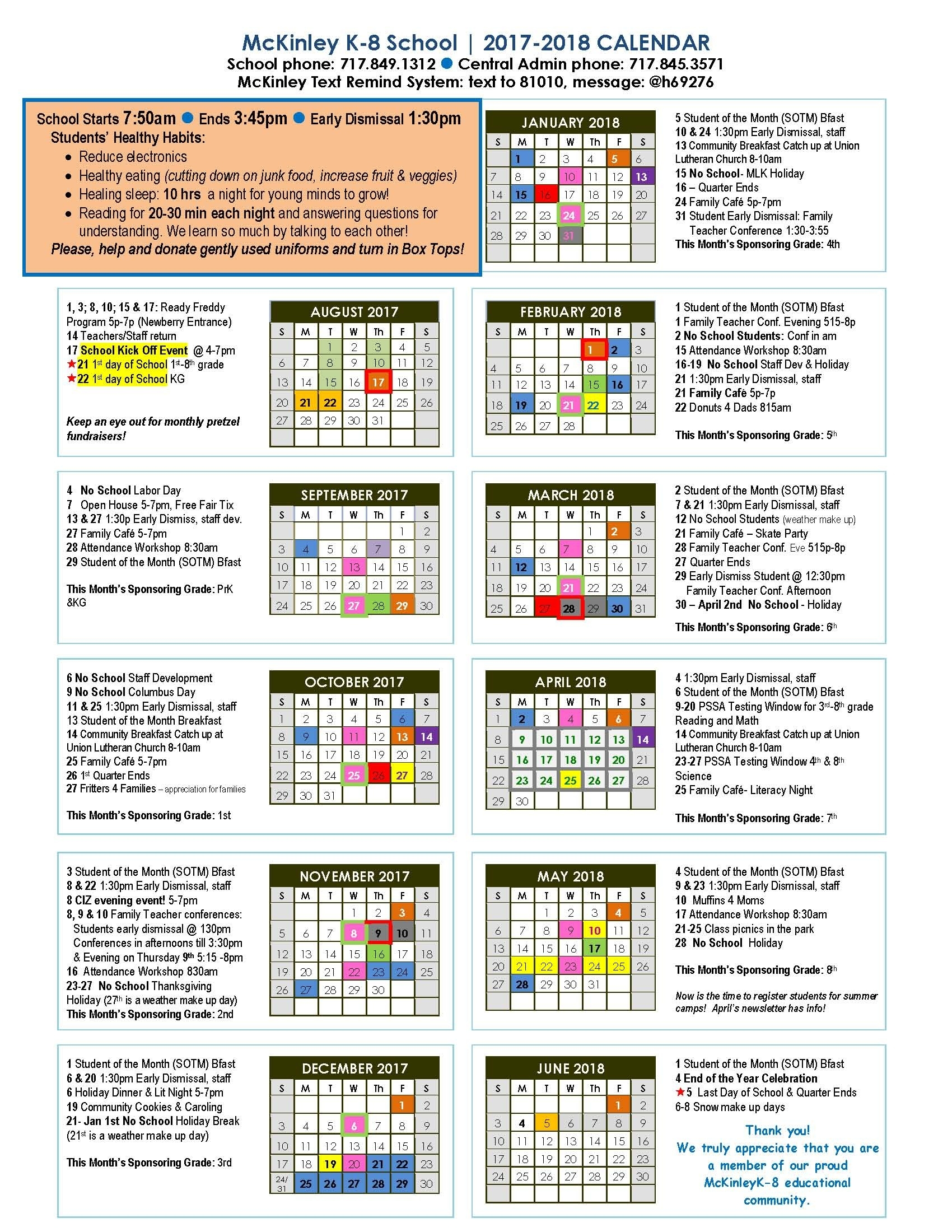 The Mckinley 2017-18 Calendar Is Here! | Mckinley K - 8_Celebration K-8 School Calendar