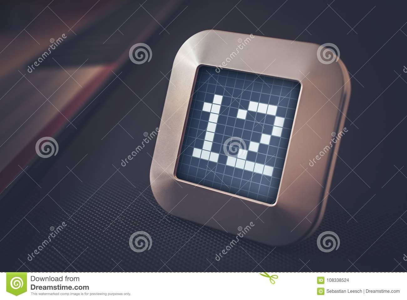 The Number 12 On A Digital Calendar, Thermostat Or Timer Stock Photo_Calendar And Countdown Chrome