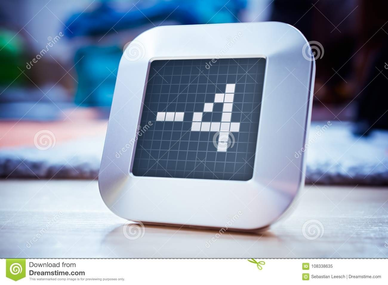 The Number -4 On A Digital Calendar, Thermostat Or Timer Stock Image_Calendar And Countdown Chrome