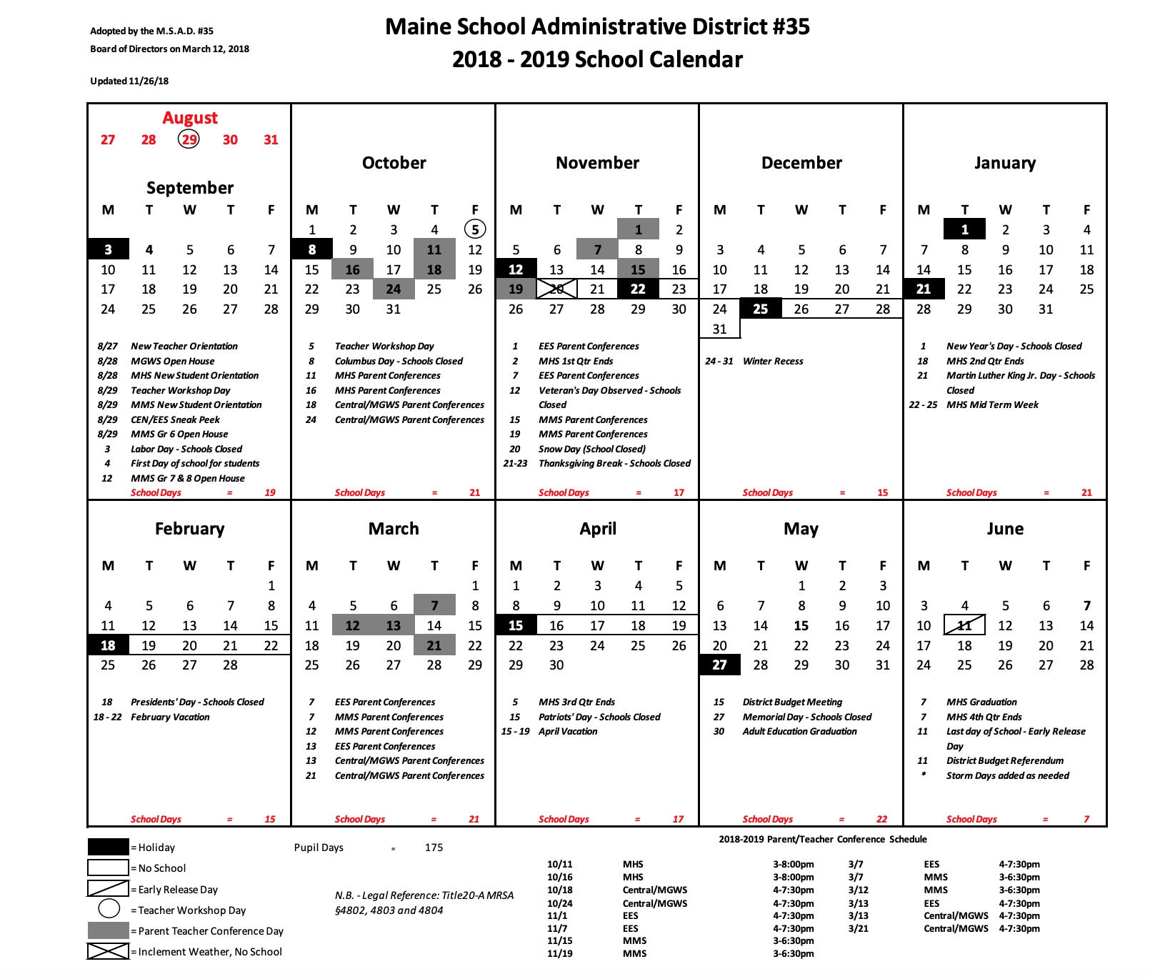 The Updated School Calendar For 2018-2019 That Shows The Snow Day_Msad 1 School Calendar