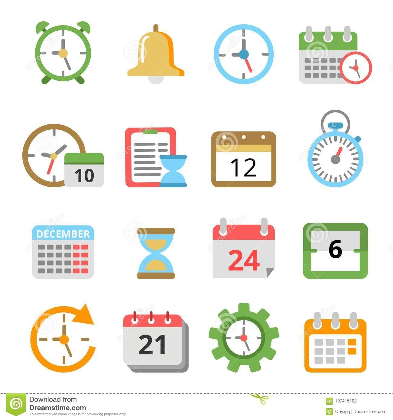Time Management Symbols. Calendars, Reminders, Planners And Other_Calendar Time Frame Icon