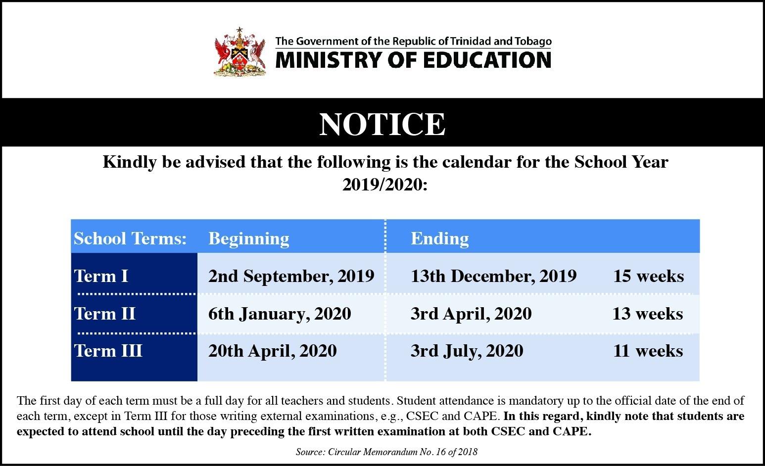 Trinidad And Tobago School Calendar 2019 And 2020 - Publicholidays.la_School Calendar Trinidad 2020