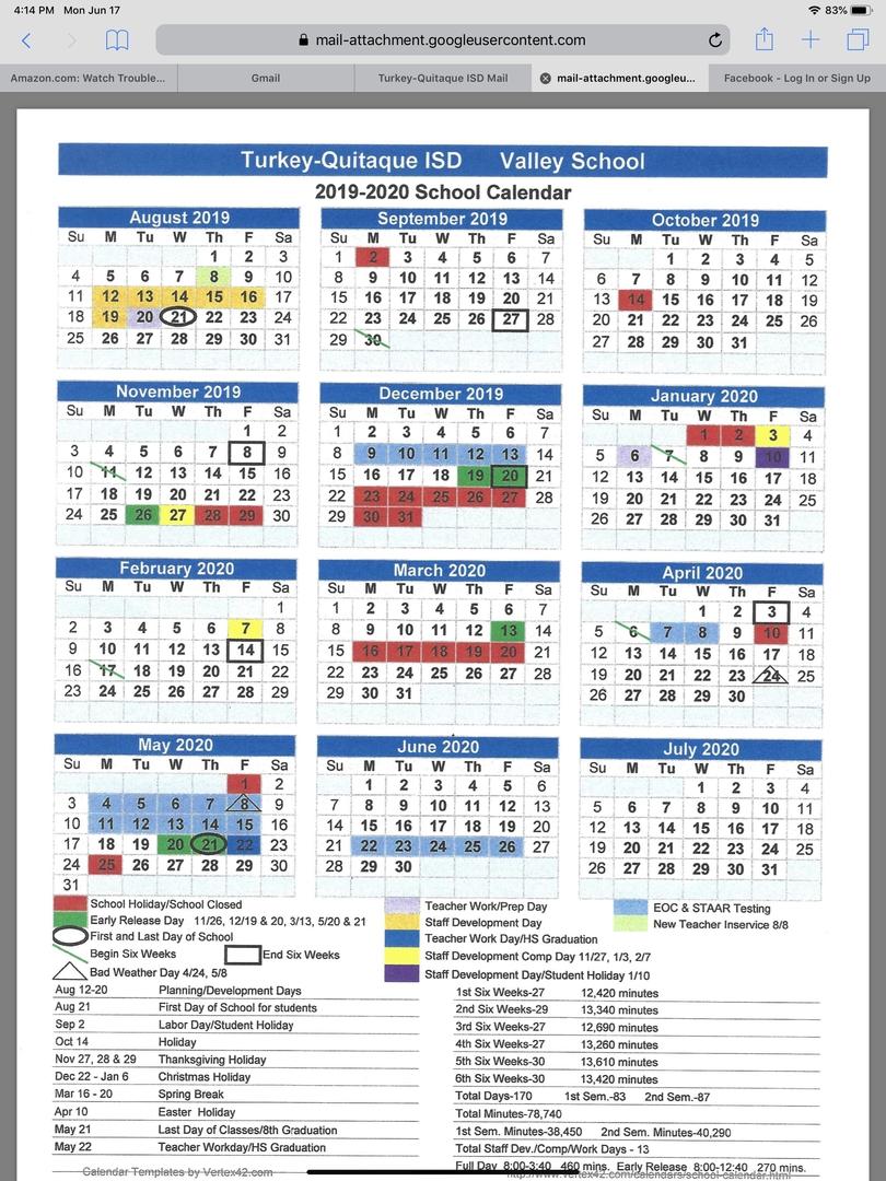 Turkey-Quitaque Isd - 2019-2020 Valley School Calendar_Calendar School District 96