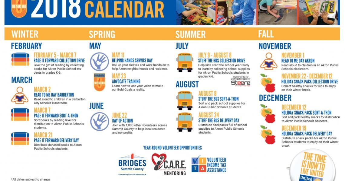 United Way Of Summit County Unveils 2018 Engagement Calendar_Akron U School Calendar