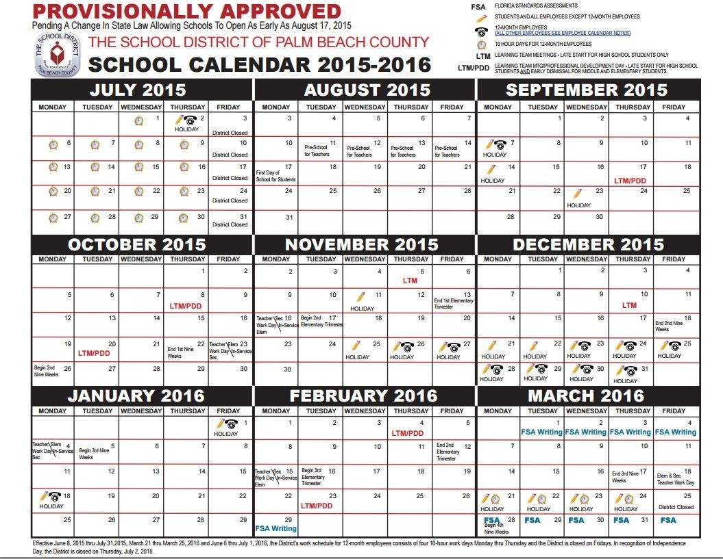 Update: Pbc's Standby 2015-16 Calendar Goes Into Effect; Here's Your_School Calendar Martin County