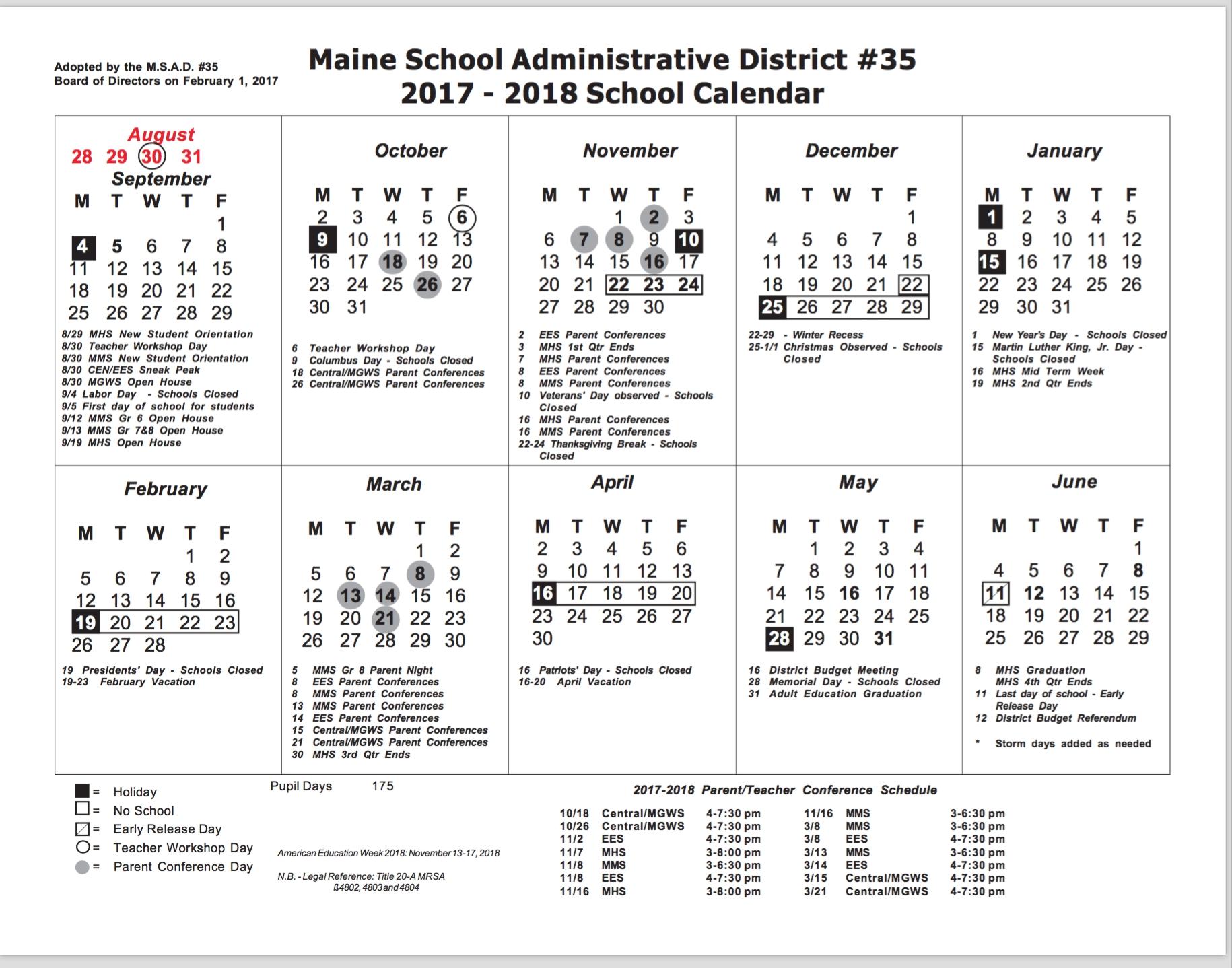 Updated School Calendar To Include The Change Of The Date Of The_Rsu 6 School Calendar