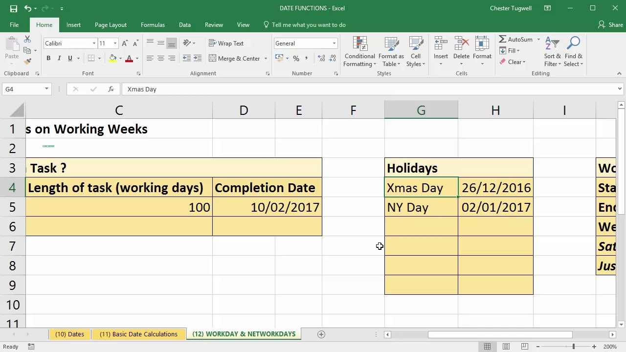 Use Excel To Add Days To Date Excluding Weekends And Holidays_Countdown Calendar Not Including Weekends