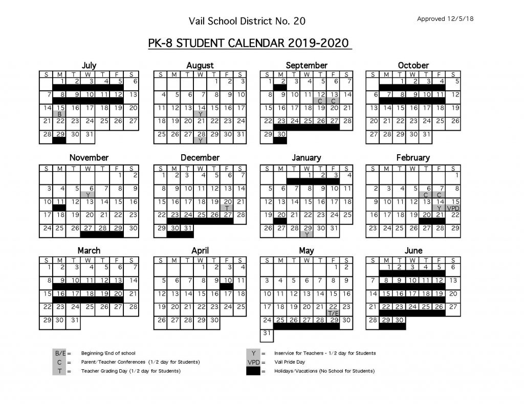 Vail School K-8 2019-2020 Calendar | Senita Valley Elementary School_Calendar Vail School District