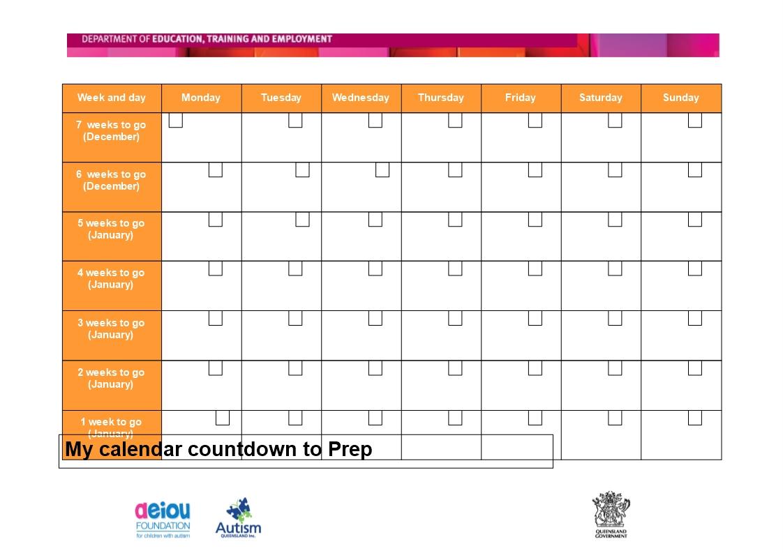 Week Calendar Template Day Schedule Free Printable Countdown_Countdown Calendar Days Printable