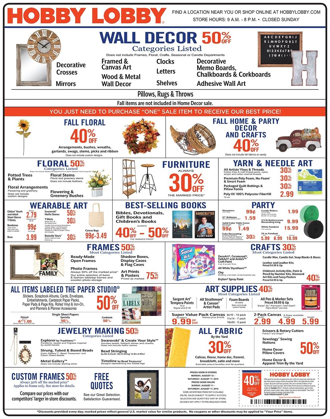 Weekly Ad & Coupon_Blank Calendar Hobby Lobby