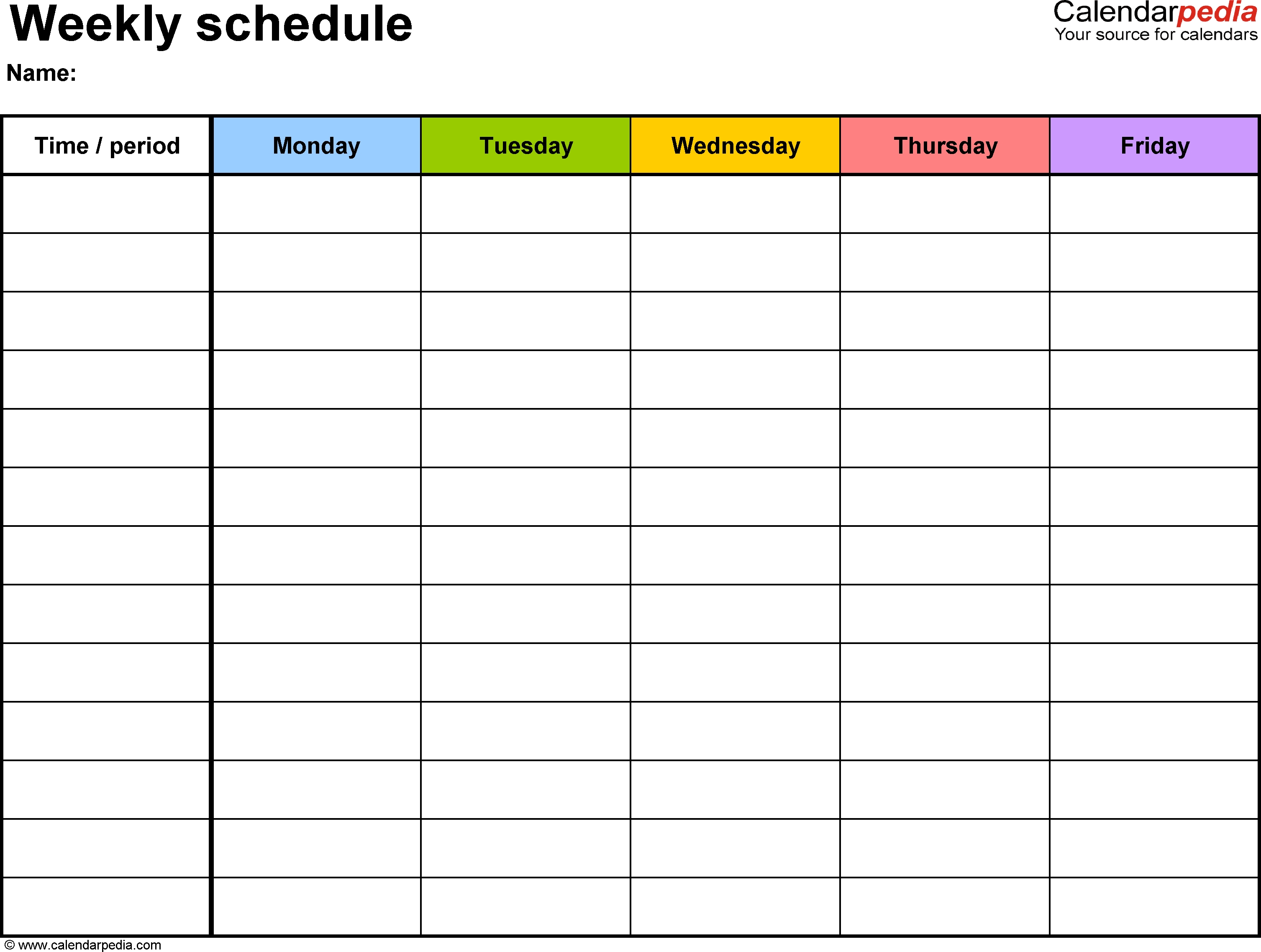 Weekly Schedule Template For Word Version 1: Landscape, 1 Page_Countdown Calendar Template Word