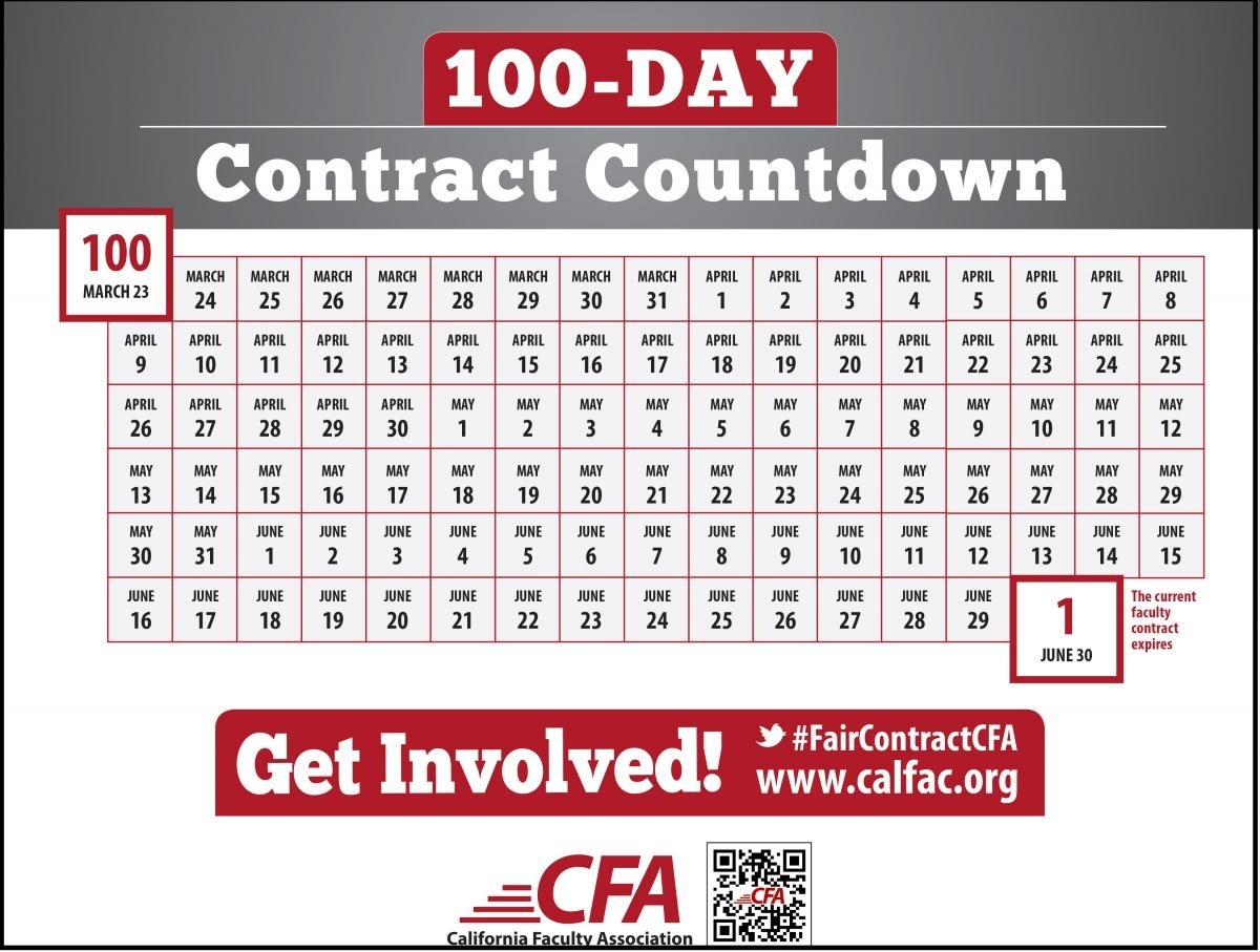 Welcome To Our 100-Day Contract Countdown - California Faculty_Countdown Calendar 100 Days
