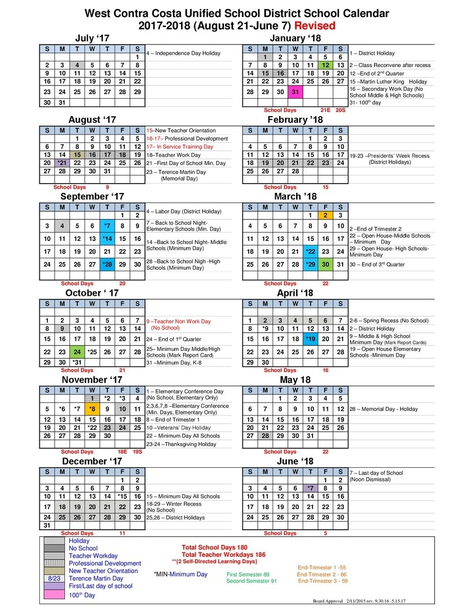 "West County Schools On Twitter: ""the 2017-18 School Year Is Underway_School Calendar District 87"