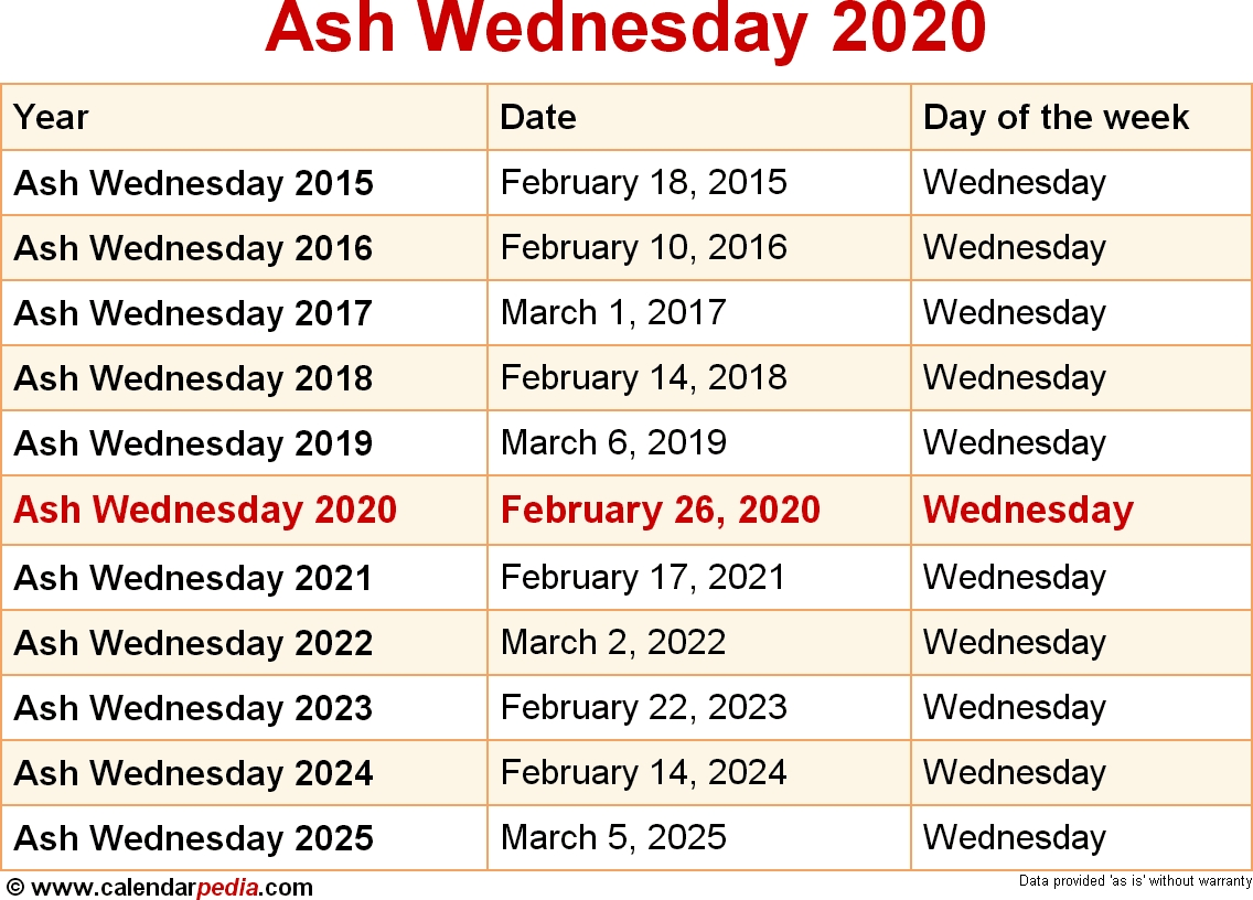 When Is Ash Wednesday 2020 & 2021? Dates Of Ash Wednesday_157 C School Calendar
