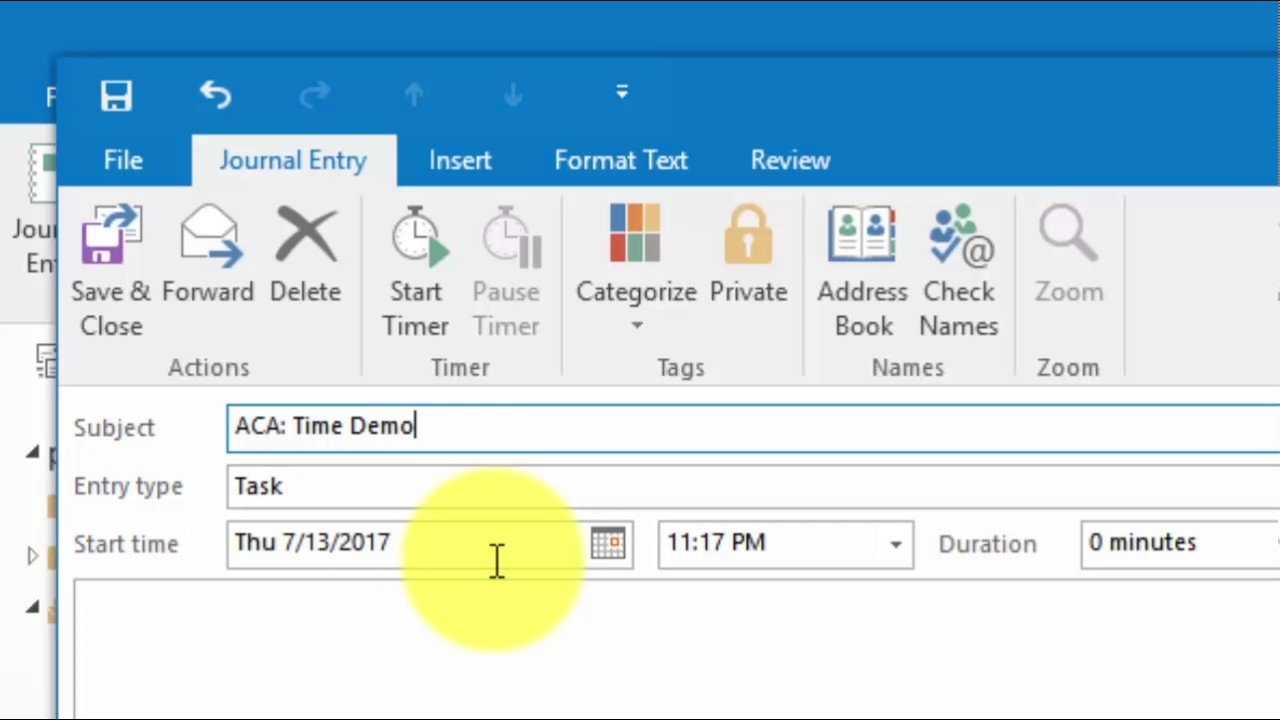 Where To Find The Task Timer In Outlook 2013 & 2016_Countdown Calendar Microsoft Outlook