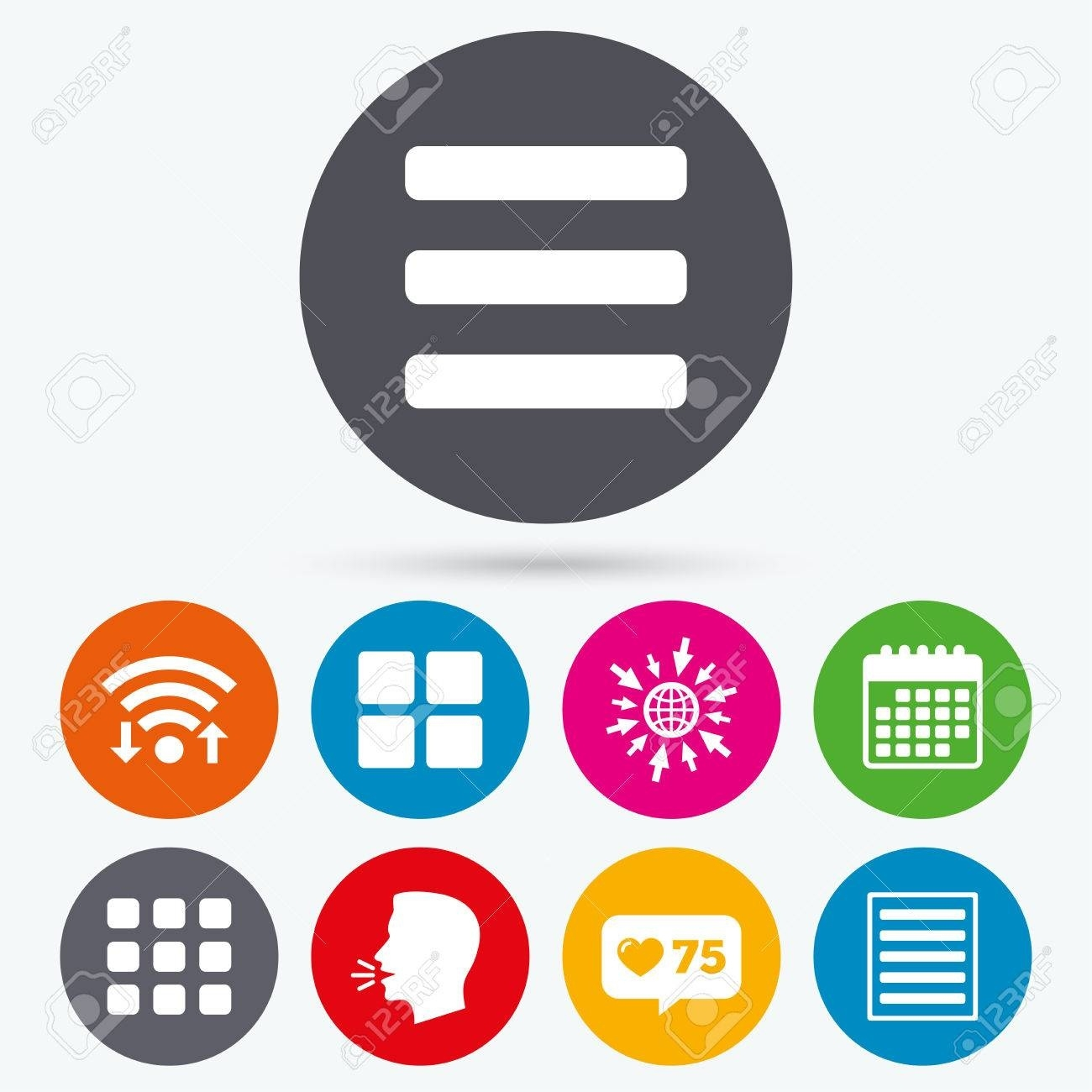Wifi, Like Counter And Calendar Icons. List Menu Icons. Content.._Calendar List View Icon