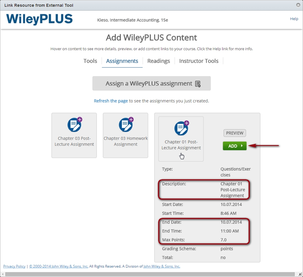 Wileyplus / Canvas Integration (Instructor) - Canvas_What Does The Calendar Icon Under An Assignment Represent