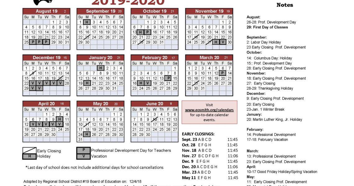 Year At A Glance - Edwin O. Smith High School_Region 4 School Calendar