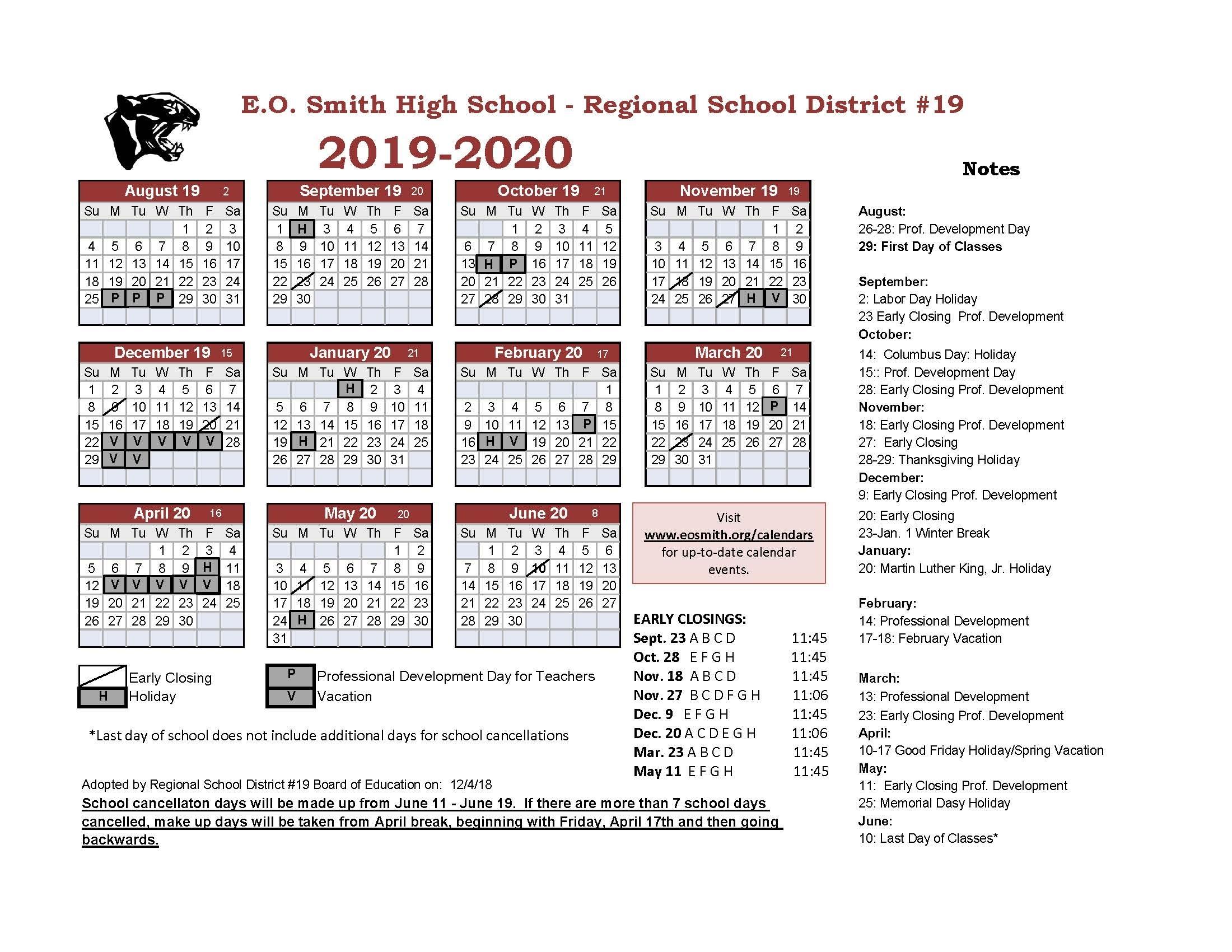Year At A Glance - Edwin O. Smith High School_Region 9 School Calendar