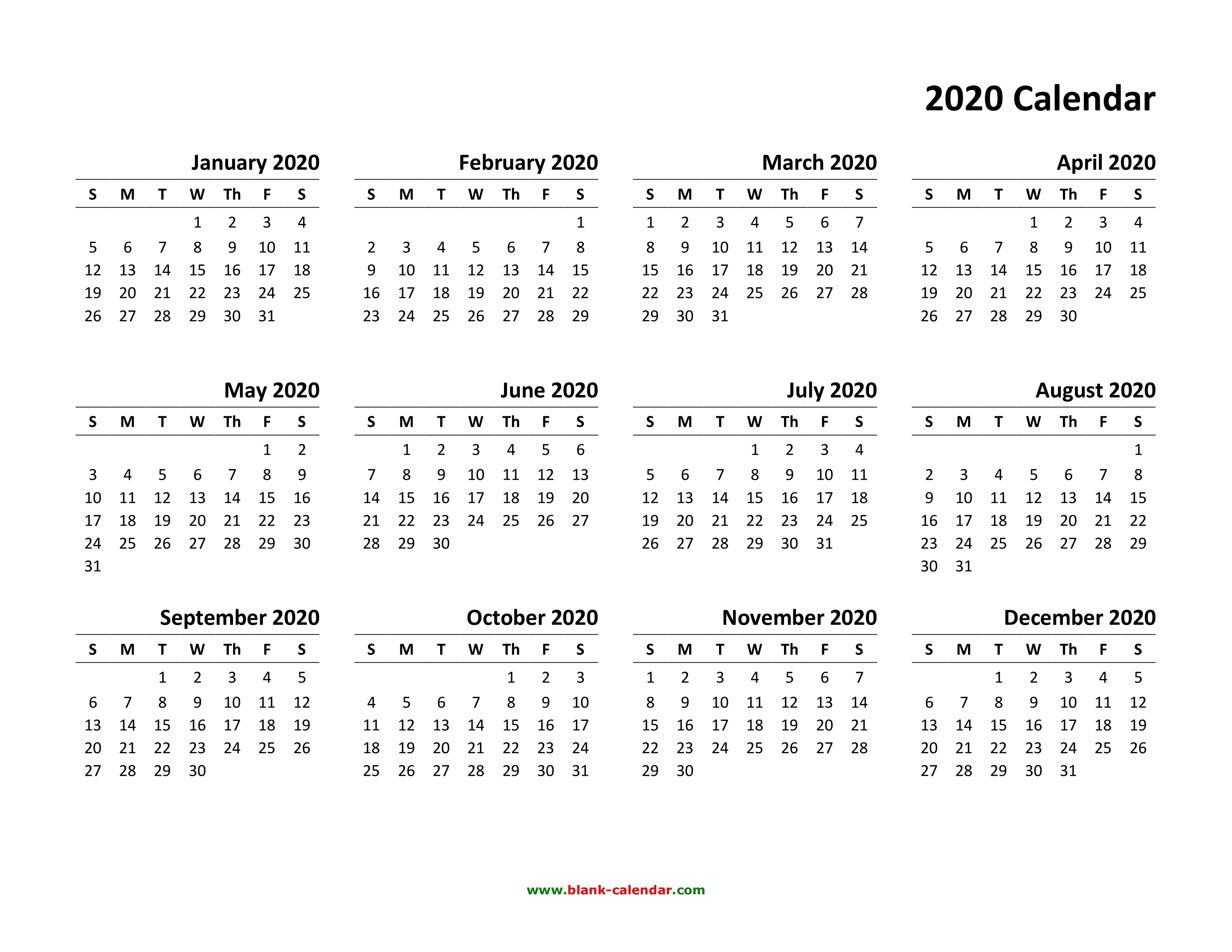 Yearly Calendar 2020  </p>   </div>        <br>     <div class=