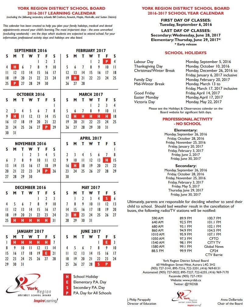 """York Region Dsb On Twitter: """"looking For The 2016-2017 #yrdsb School_Region 9 School Calendar"""