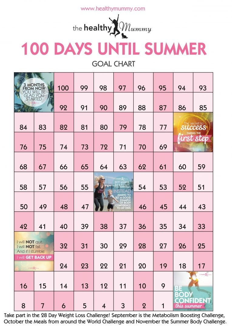 Your 100 Day Goal Motivation Sheet - Lose Baby Weight_Countdown Calendar 100 Days