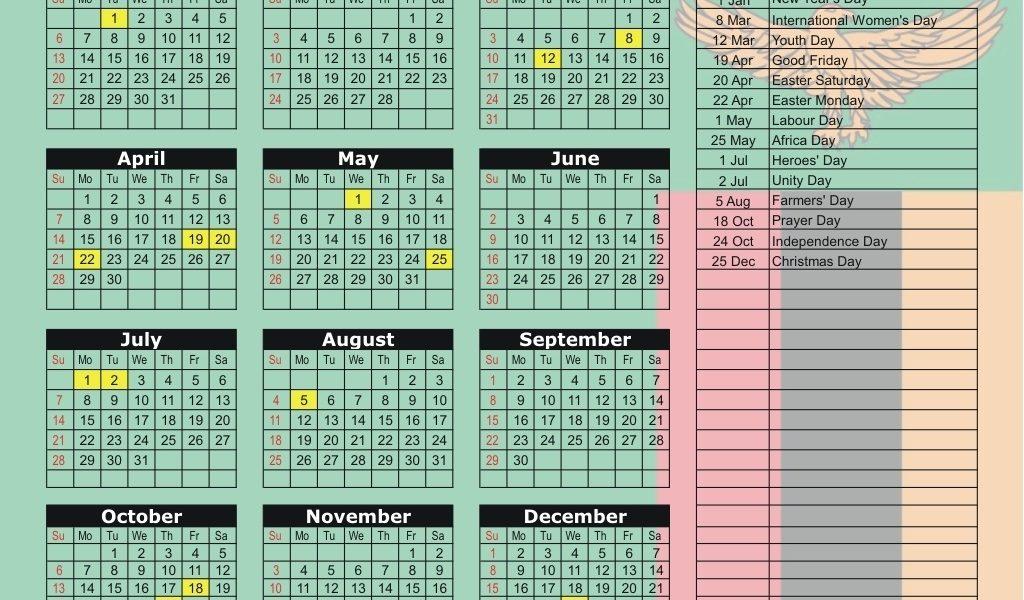 Zambia 2019 / 2020 Holiday Calendar_School Calendar 2020 Zambia