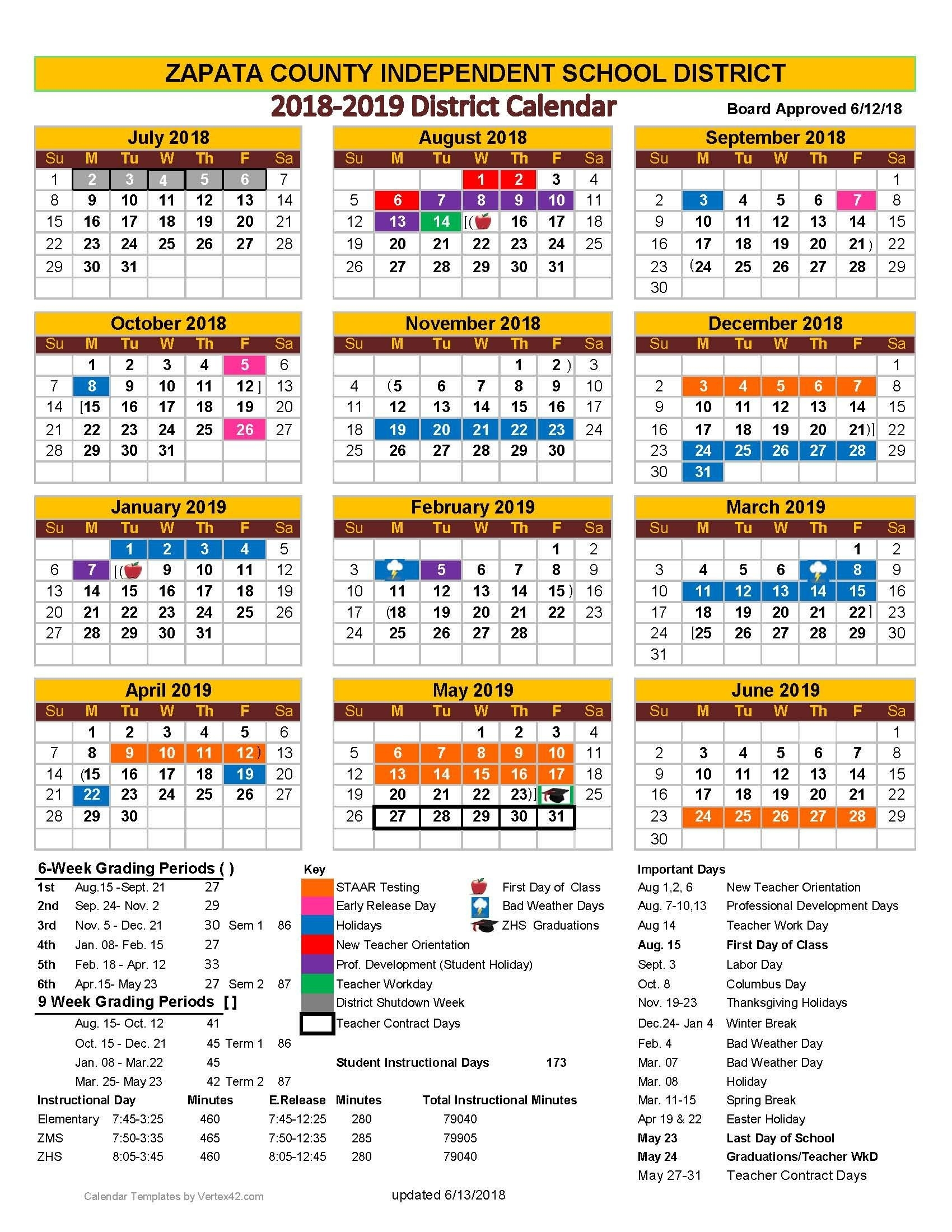 Zapata County Independent School District_A&m School Calendar 2020