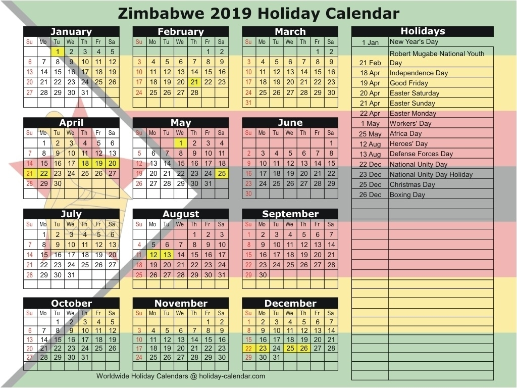 Zimbabwe 2019 / 2020 Holiday Calendar-School Calendar 2020 South_Calendar Printing In Zimbabwe
