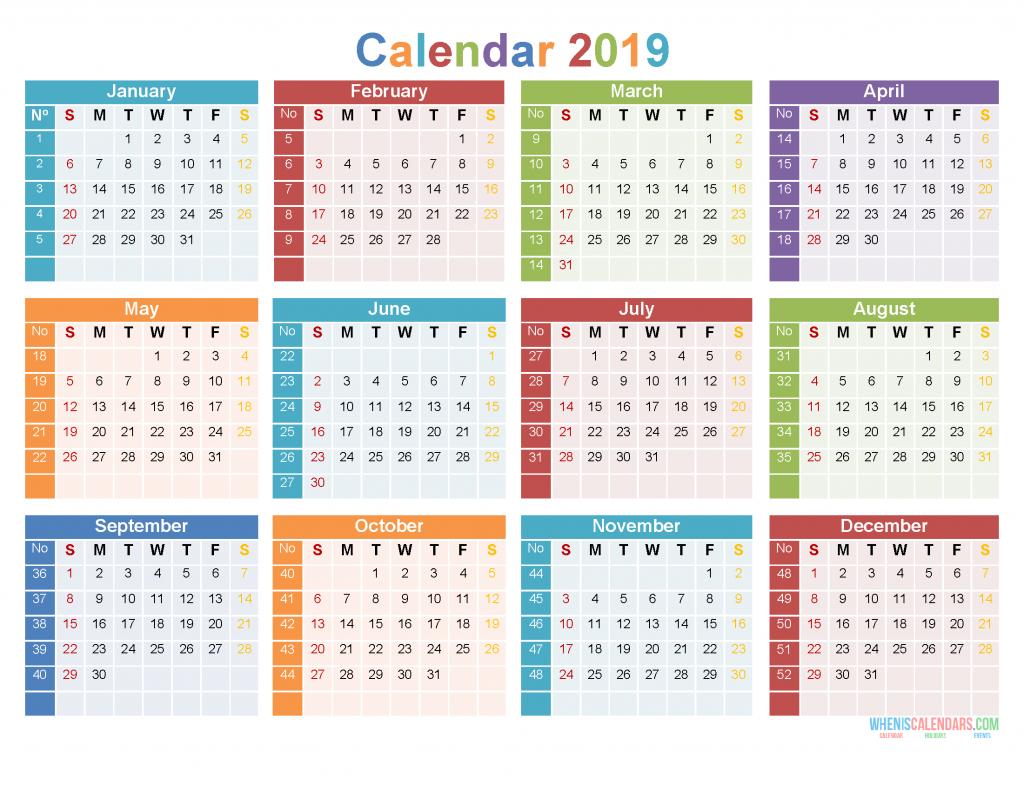 12 Month 2019 Calendar Printable On 1 Page [Us Edition] | Free Printable 2020 Calendar With Holidays_2019 Calendar Printing Johannesburg